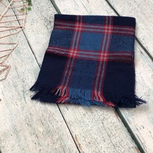 Accessories - Blue red plaid scarf winter fringe checks acrylic